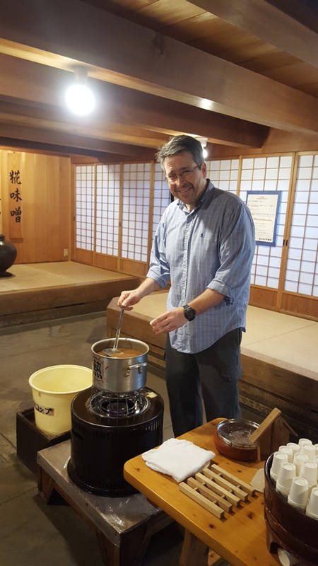 Miso Soup sampling in Takayama Old Town, Japan