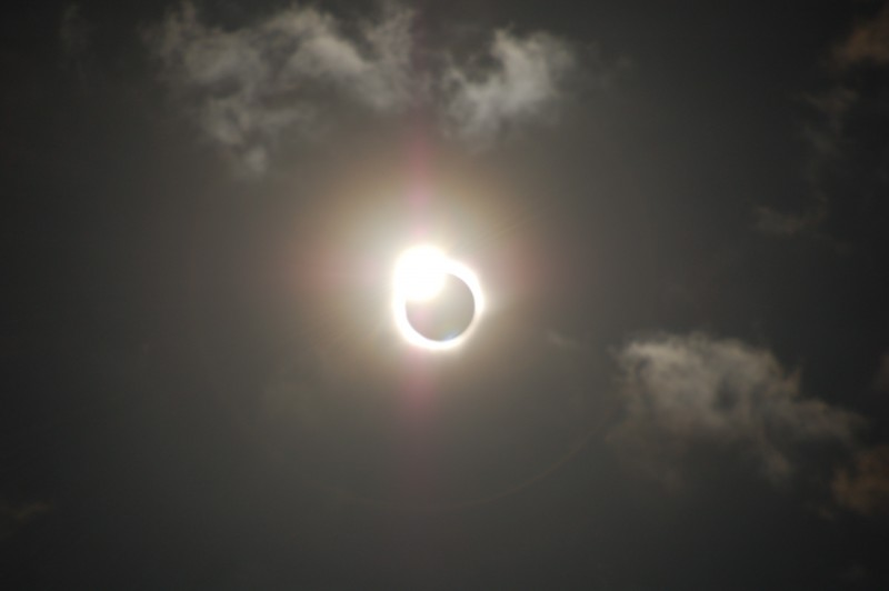 Unfiltered Total Solar Eclipse Beautiful Diamond Ring Effect Shortly After Totality