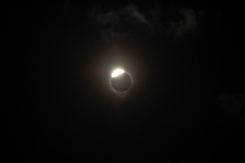 Unfiltered Total Solar Eclipse Lesser Diamond Ring Effect Shortly After Totality