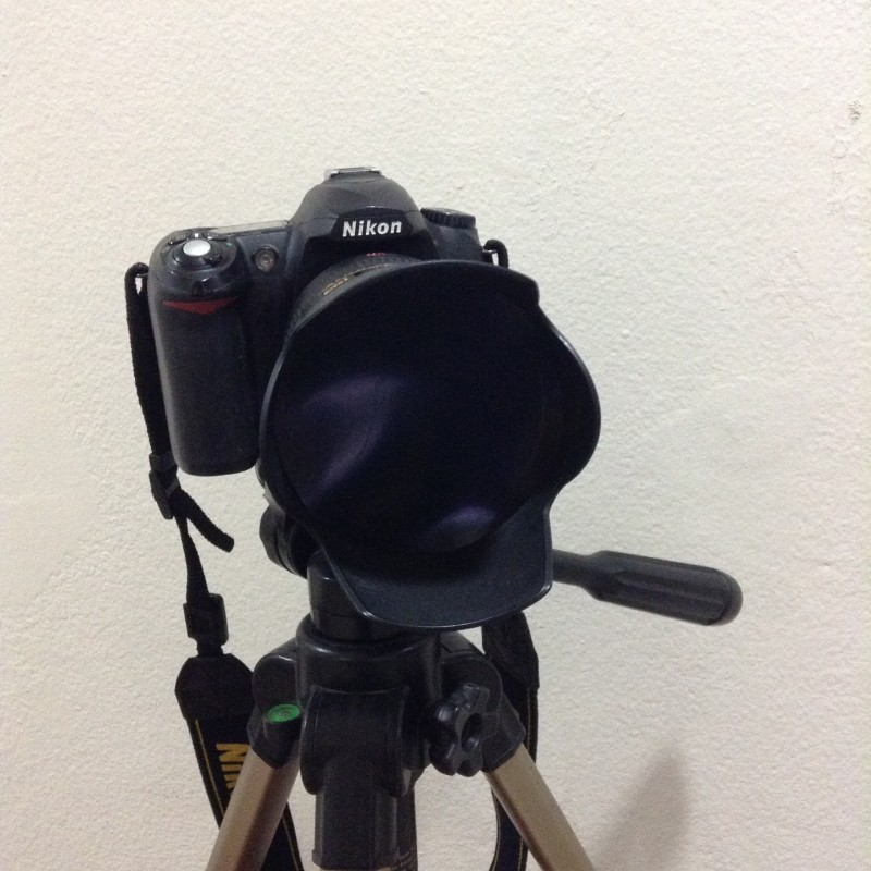 Nikon D50 Camera with Nikor DX 18-200mm VR Lens with DIY Solar Filter Made with XRAY film inserted in Lens Hood