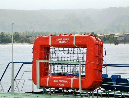 Life raft on Gilimanuk to Banuwangi Ferry