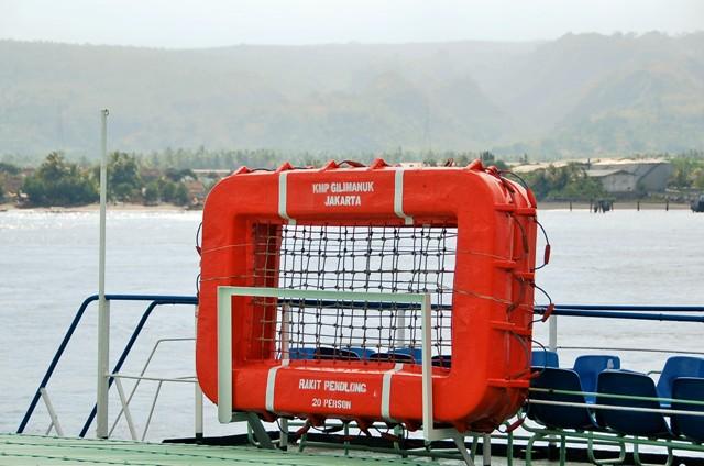 Life raft on Gilimanuk to Banuwangi Ferry