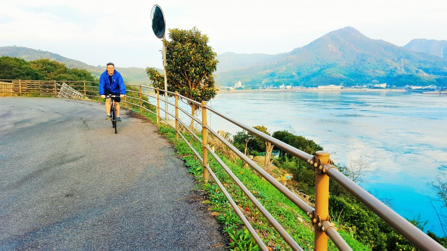 Cycling along the Shimanami Kaido Trail, Japan
