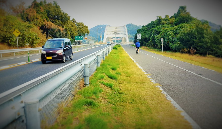 Approaching Omishima Bridge, Japan