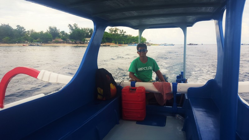 Leaving Gili Air for Lombok by private fishing boat, Indonesia