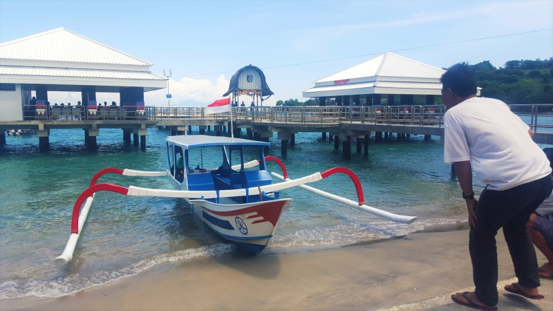 Our private fishing boat to Gili Air from the Senggigi Pier