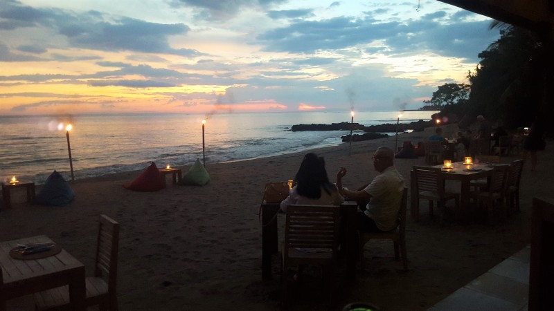 Sunset dinner at Cafe Albertos, Lombok, Indonesia