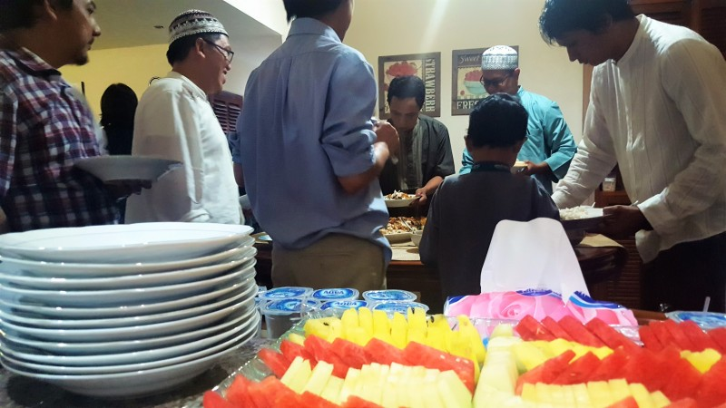 Indonesian buffet-style meal for breaking the fast during Ramadan