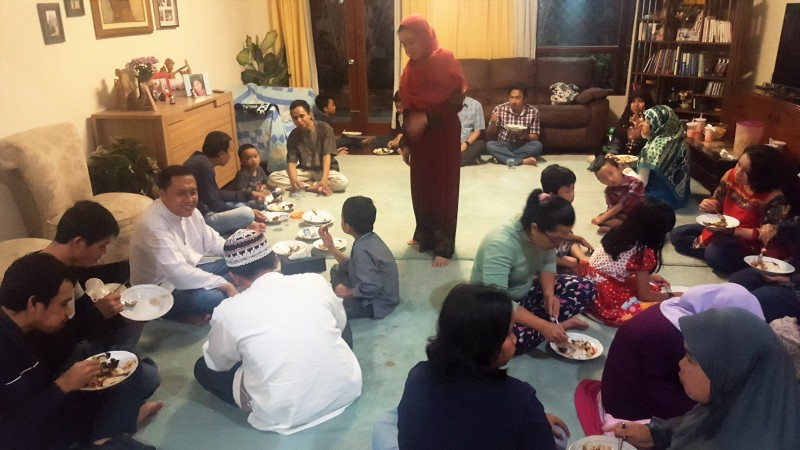 Breaking the fast after sunset prayer during Ramadan
