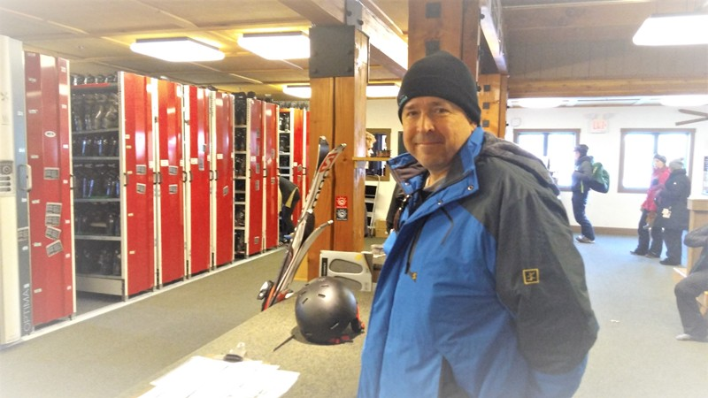 Getting our ski equipment at Bretton Woods, NH