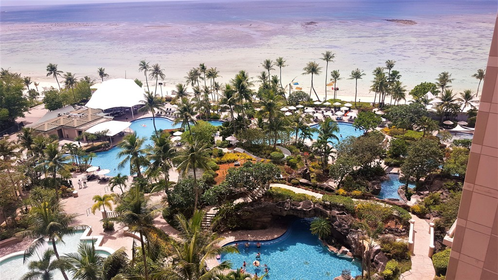 View of our hotel pool in Tumon, Guam